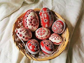 Dekorácie - Sada červeno-bielych kraslíc - 13153831_