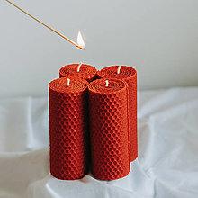 Svietidlá a sviečky - Adventné sviečky červené 120x45mm, 4ks - 13156969_