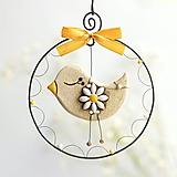 Dekorácie - jarný vtáčik s kvetom - 13157520_