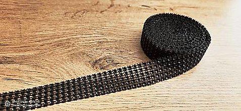 Galantéria - Kamienková stuha -šírka 2 cm- cena za 10 cm (Čierna) - 13157571_