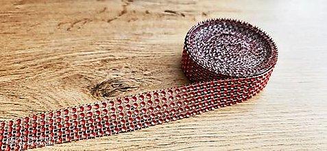 Galantéria - Kamienková stuha -šírka 2 cm- cena za 10 cm (Červená) - 13157572_