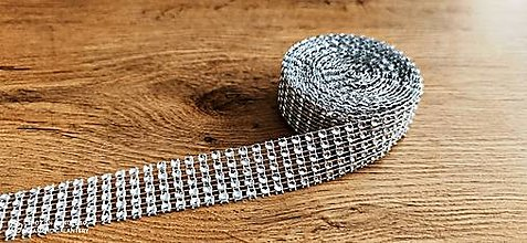 Galantéria - Kamienková stuha -šírka 2 cm- cena za 10 cm (Strieborná) - 13157578_