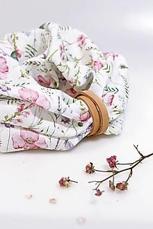 """Šatky - Elegantný navliekací nákrčník zo 100% kvetinového ľanu """"Lúka"""" - 13158186_"""