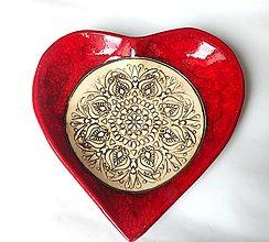 Nádoby - Keramická miska Červené srdce - 13158268_