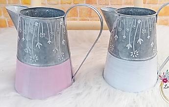 Nádoby - Kovový džbán ružovo-sivý 22cm - 13159307_