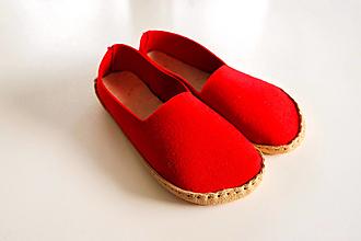 Obuv - Petja papuče filcové červené - 13159559_