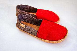Obuv - Petja papuče filcové červeno-šedé - 13159592_