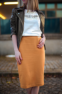 Sukne - Úzka sukňa škoricová - 13160532_