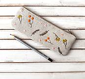 Taštičky - Vyšívaný peračník Bobuľky oranžové a lúčne kvietky - 13160747_