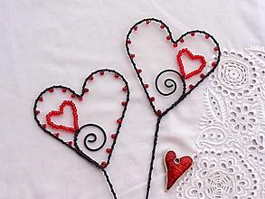 Dekorácie - od srdca ....zápich (Červená) - 13164493_