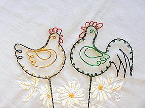 Dekorácie - jar na dvore ... sliepka a kohút..zápich  (zeleno-žltá) - 13164579_