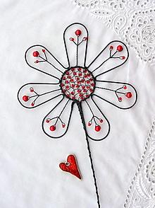 Dekorácie - kvet ... červený zápich - 13164592_