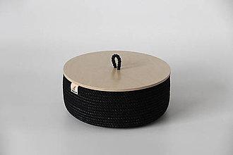 Košíky - Provazové koše černý a bílý s víkem - 13161739_
