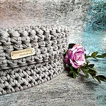 Košíky - Warm Grey   štýlový háčkovaný košík - 13162182_