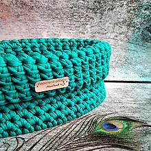 Košíky - Emerald   štýlový háčkovaný košík - 13162403_