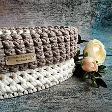 Košíky - White Chocolate | štýlový háčkovaný košík - 13162410_