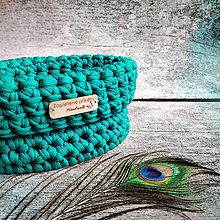 Košíky - Emerald | malý háčkovaný košík - 13163436_