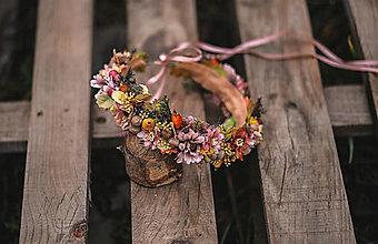 Ozdoby do vlasov - Jesenný kvetinový venček - 13164667_