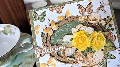 Papiernictvo - Gratulujeme šáločka pohľadnica - 13162233_