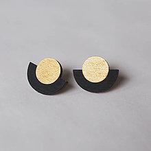 Náušnice - ufo ~ napichovačky (zlato čierne) - 13164802_