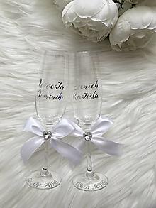 Nádoby - Svadobné poháre nevesta ženích-strieborno biele - 13166068_
