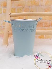Dekorácie - Váza s uškami bledomodrá 20cm - 13163468_