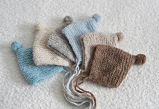 Detské čiapky - Newborn čiapočka - pixie, s bambuľkou - 13162087_
