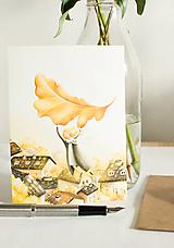 """Papiernictvo - Eco-pohľadnica """"Jesenný list"""" - 13161324_"""