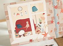 "Papiernictvo - Eco-pohľadnica ""Jeseň za oknom"" - 13161329_"