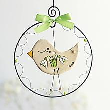 Dekorácie - jarný vtáčik.... snežienky - 13166702_