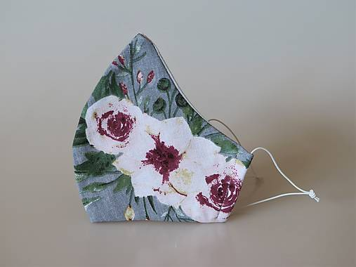 Dizajnové rúško ružová záhrada šedá tvarované dvojvrstvové