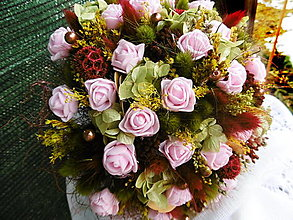 Dekorácie - Kytica s ružovými ružičkami - 13170142_