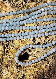 Minerály - korálky 4mm akvamarín A+ kvalita - 13167814_
