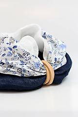 """Šatky - Elegantný dámsky kvetinový nákrčník z ľanu a bavlny """"Blueflorie"""" - 13169068_"""