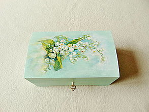Krabičky - Drevená truhlička Konvalinky - 13168966_