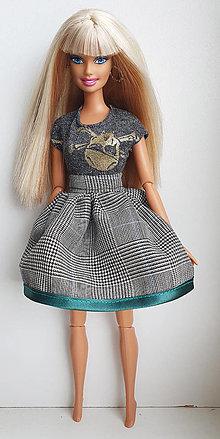 Hračky - Károvaná sukňa s lemovaním pre Barbie - 13170244_
