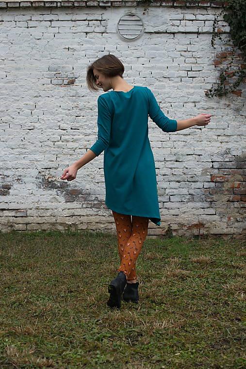 Šaty - Šaty Asymetrik petrolejová - 13170473_