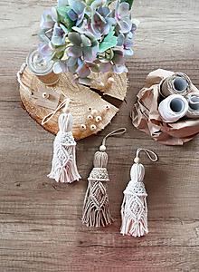Dekorácie - Makramé pletený strapec (3 strapce - set) - 13168351_