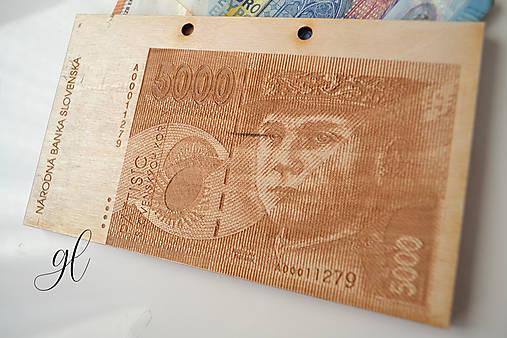 Drevená obálka na peniaze Slovenská Koruna (Štefánik - 5000 SK)