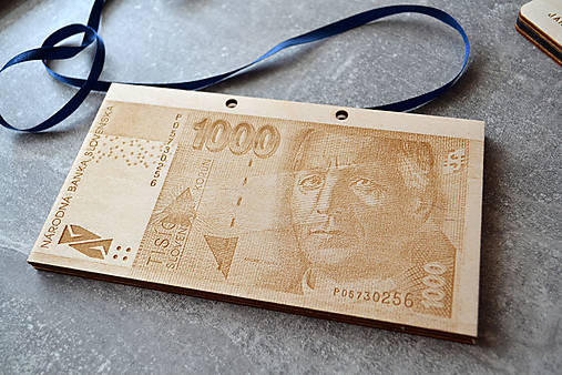 Drevená obálka na peniaze Slovenská Koruna (Hlinka - 1000 SK)