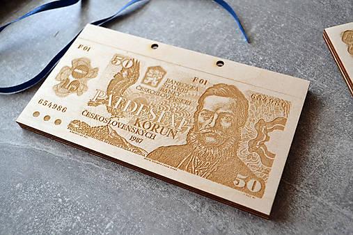 Drevená obálka na peniaze Československá Koruna (50 Kčs Ľudovít Štúr)