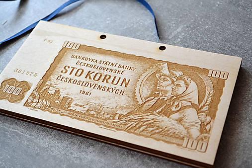 Drevená obálka na peniaze Československá Koruna (100 Kčs Rolníci)