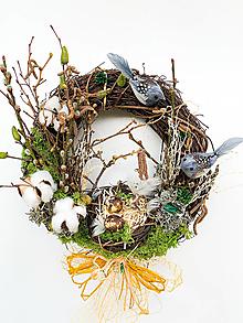 Dekorácie - Celoročný veniec s vtáčikmi - 13166511_