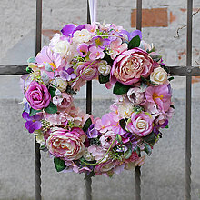 Dekorácie - Veniec na dvere,jarný, letný, celoročný, fialový, ružový s pivonkami - 13174405_