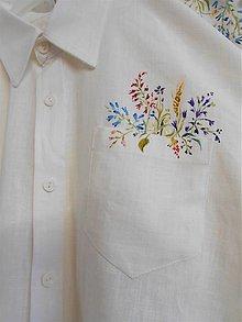 """Oblečenie - Maľované """" Lúčne kvietky""""  pánska ľanová košeľa... - 13171424_"""