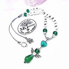 Iné šperky - Krásny talizman do auta  (Zeleno-biely) - 13175759_