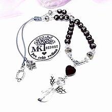 Iné šperky - Krásny talizman do auta  (Čierno-sivý) - 13175770_