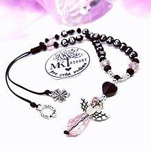 Iné šperky - Krásny talizman do auta  (Ružovo-čierny) - 13175775_