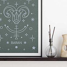 Grafika - BARAN, šalviový print - 13175255_