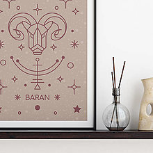 Grafika - BARAN, ružový print - 13175262_